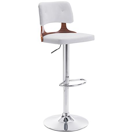 Zuo Lynx White Leatherette Adjustable Chrome Bar Chair