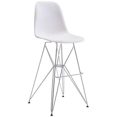 "Zuo Zip 28 3/4"" White Shell-Seat Chrome Bar Chair"