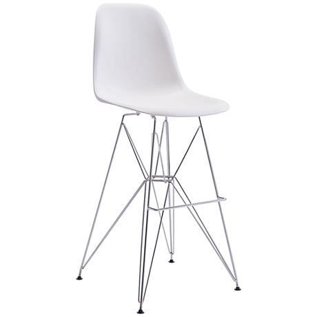 "Zuo Zip 28 3/4"" White Shell-Seat Chrome Bar Chair"