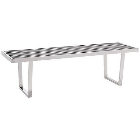 Zuo Niles Polished Steel Rectangular Modern Bench