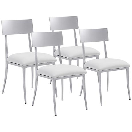 Zuo Mach White Leatherette Chrome Dining Chair Set of 4