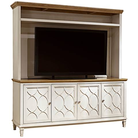 Moderne Muse Bisque 4-Door Entertainment Console with Deck