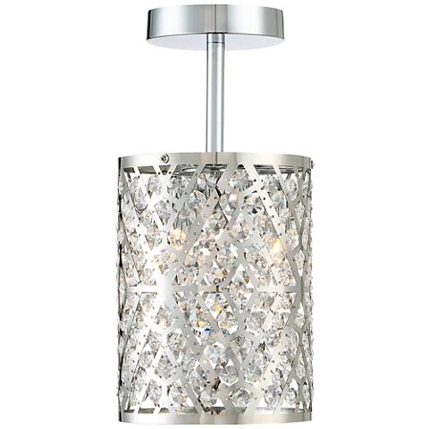 "Possini Euro Ivanna 14""H Chrome and Crystal Ceiling Light"
