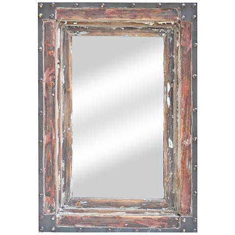 "Barrington Distressed Wood 21 3/4""x31 1/2"" Mirror"