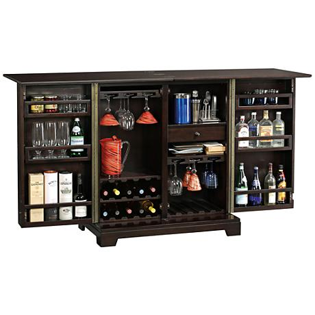 Barolo Black Coffee 2-Door Wine and Bar Cabinet