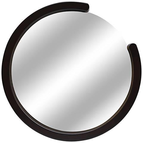 "Disconnect Shiny Black 36"" Round Wall Mirror"