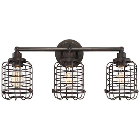 "Henway 24""W 3-Light Oil Bronze Industrial Cage Bath Light"