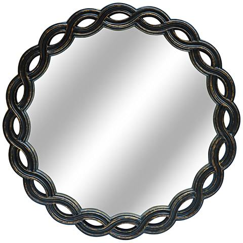 "Links Gold and Black 33"" Round Wall Mirror"