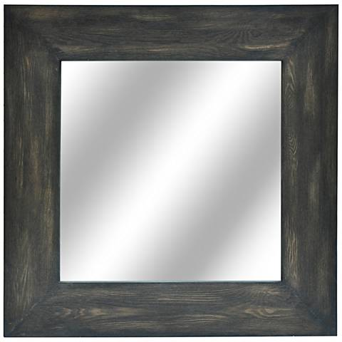 """Gabe Distressed Wood 40"""" Square Wall Mirror"""