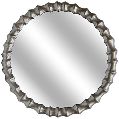 "Rylan Antiqued Silver 36"" Round Beveled Wall Mirror"