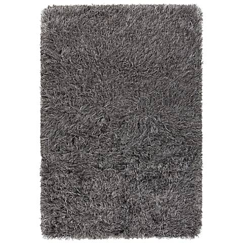 Chandra Onex Gray and Black Shag Area Rug