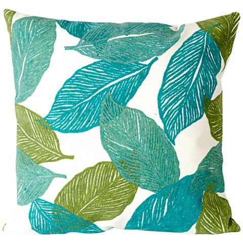 "Visions I Mystic Leaf Aqua 20"" Square Outdoor Throw Pillow"