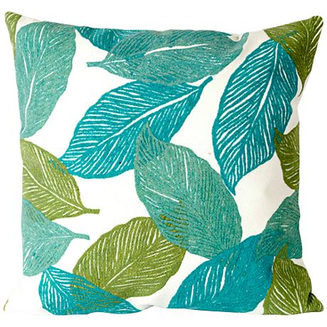 "Visions I Mystic Leaf Aqua 20"" Square Outdoor Throw Pillow"