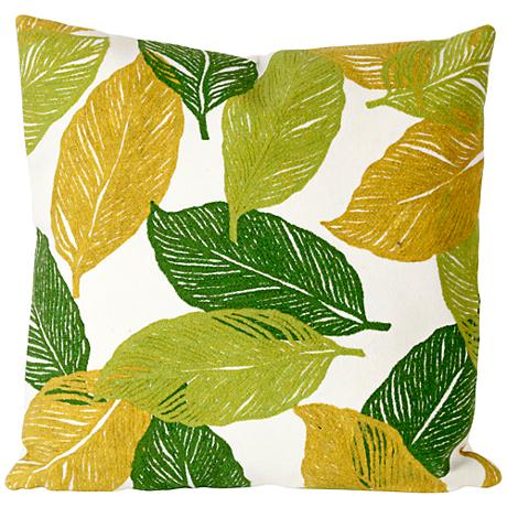 """Visions I Mystic Leaf Green 20"""" Square Outdoor Throw Pillow"""