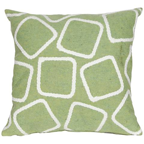 "Visions I Squares Lime 20"" Square Outdoor Throw Pillow"