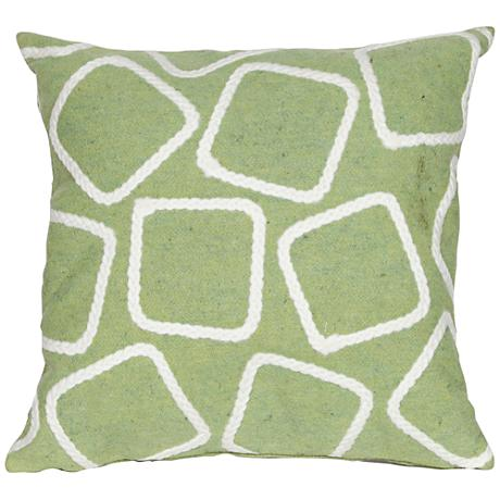 """Visions I Squares Lime 20"""" Square Outdoor Throw Pillow"""