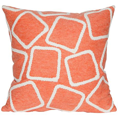 """Visions I Squares Coral 20"""" Square Outdoor Throw Pillow"""