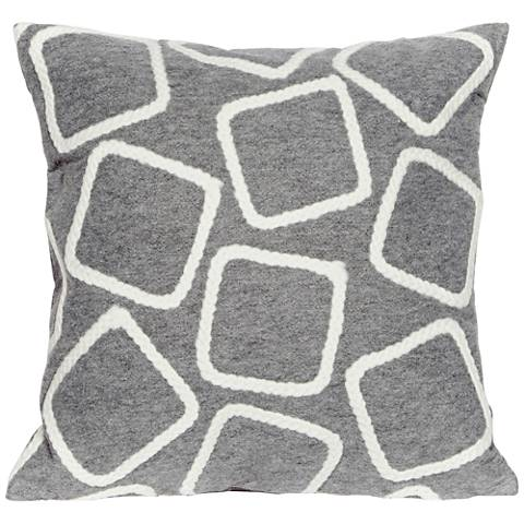 "Visions I Squares Silver 20"" Square Indoor-Outdoor Pillow"