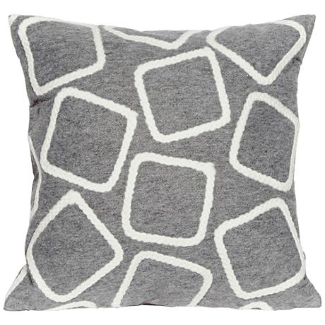 "Visions I Squares Silver 20"" Square Outdoor Throw Pillow"
