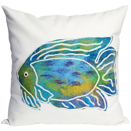 "Visions II Batik Fish Aqua 20"" Square Outdoor Throw Pillow"