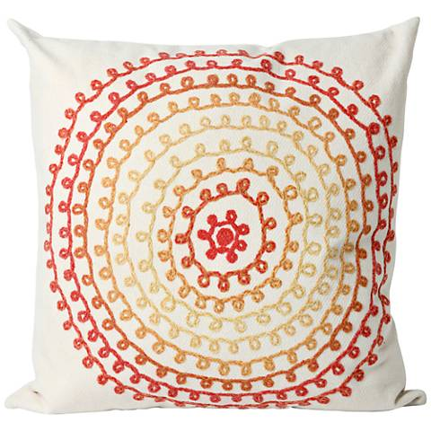 """Visions II Ombre Threads Warm 20"""" Square Outdoor Pillow"""