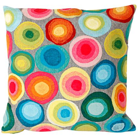 """Visions II Puddle Dot Multi-Color 20"""" Square Outdoor Pillow"""