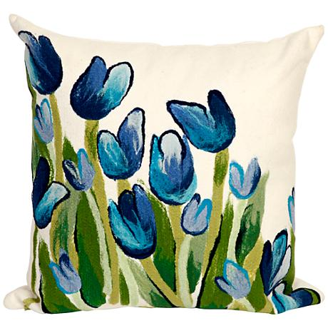 """Visions II Allover Tulips Blue 20"""" Square Outdoor Pillow"""