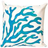 "Visions II Coral Blue 20"" Square Indoor-Outdoor Pillow"
