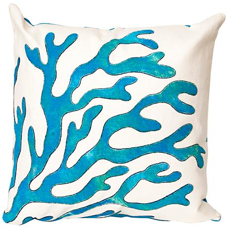 """Visions II Coral Blue 20"""" Square Outdoor Throw Pillow"""