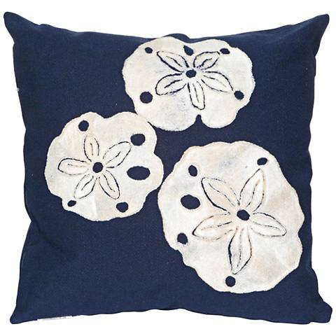 """Visions II Sand Dollar Navy 20"""" Square Indoor-Outdoor Pillow"""
