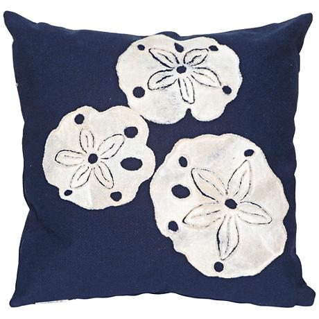 """Visions II Sand Dollar Navy 20"""" Square Outdoor Throw Pillow"""