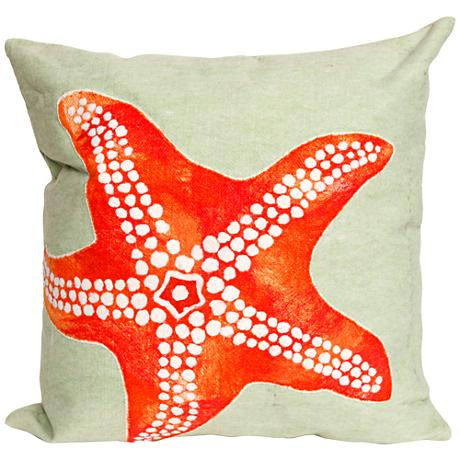 """Visions II Starfish Seafoam 20"""" Square Outdoor Throw Pillow"""