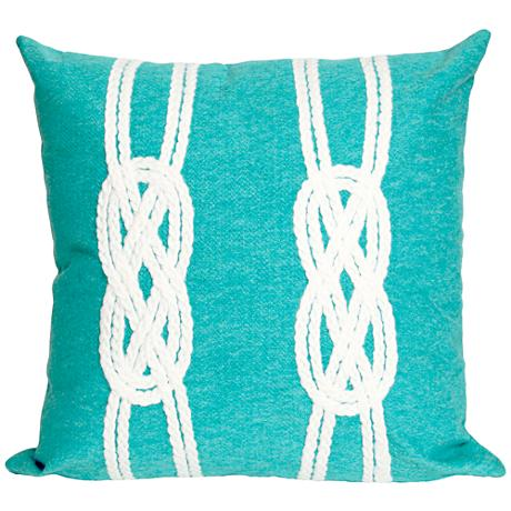 """Visions II Double Knot Aqua 20"""" Square Outdoor Throw Pillow"""
