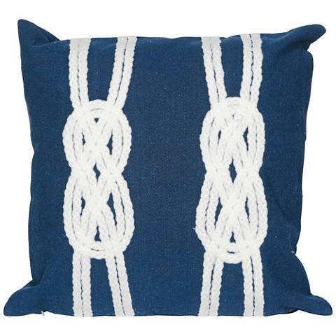 "Visions II Double Knot Navy 20"" Square Indoor-Outdoor Pillow"
