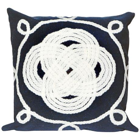"Visions II Ornamental Knot Navy 20"" Square Outdoor Pillow"