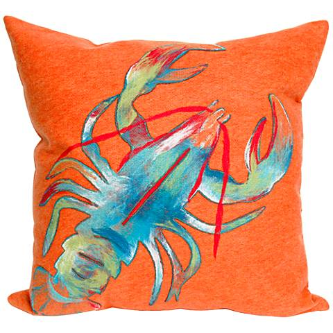 """Visions II Lobster Orange 20"""" Square Outdoor Throw Pillow"""