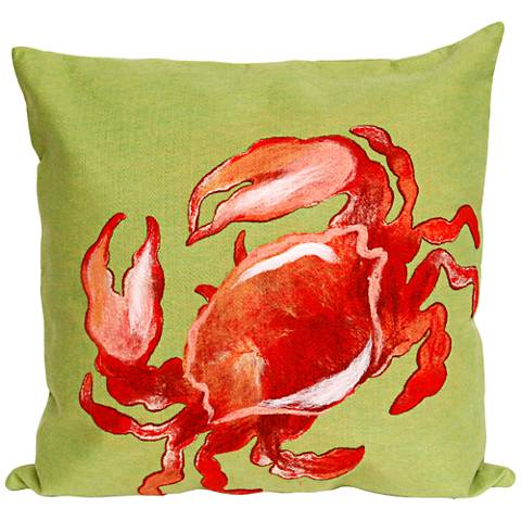 """Visions II Crab Red 20"""" Square Outdoor Throw Pillow"""