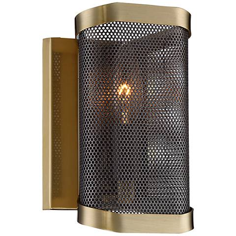 "Possini Euro Telford 8"" High Antique Brass Mesh Wall Sconce"