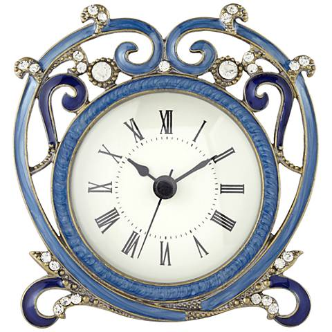 "Marbaix Blue 4 3/4"" Wide Table Clock"