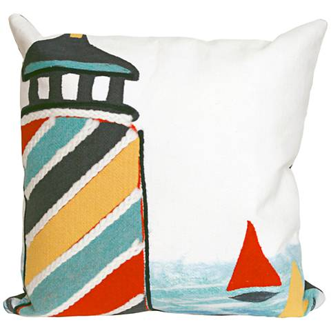 """Visions II Lighthouse Multi-Color 20"""" Indoor-Outdoor Pillow"""