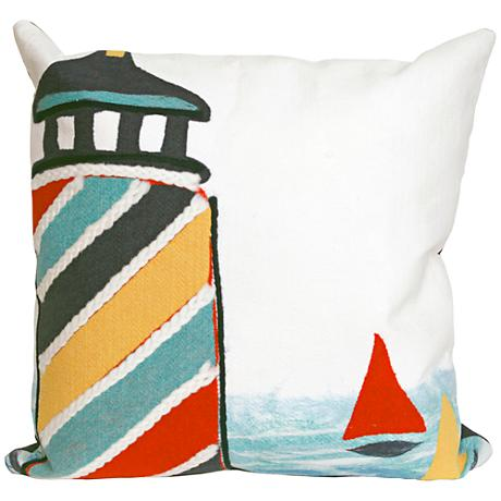 "Visions II Lighthouse Multi-Color 20"" Square Outdoor Pillow"