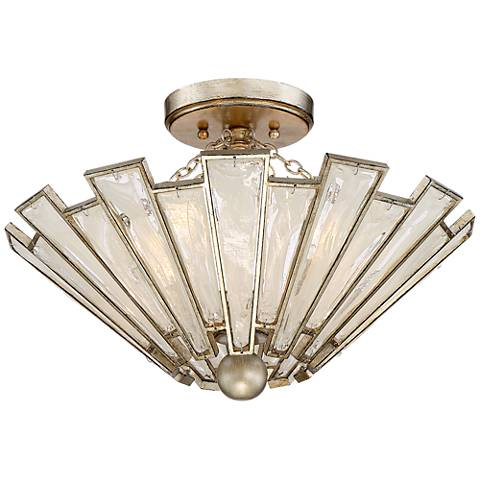 "Plume 18"" Wide Champagne and Silver Leaf Ceiling Light"