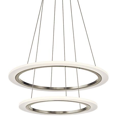 """Elan Hyvo 25""""W Brushed Nickel 2-Ring LED Pendant Light"""