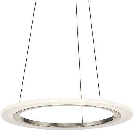 """Elan Hyvo 19 1/2""""W Brushed Nickel LED Ring Pendant Light"""