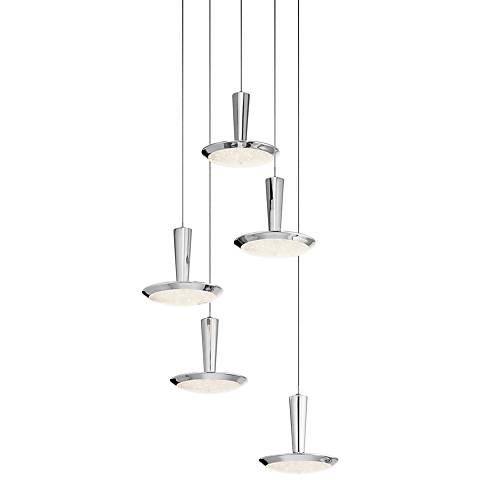 "Elan Karah 17 3/4"" Wide Nickel 5-LED Multi-Light Pendant"