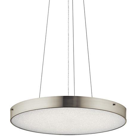"Elan Crystal Moon 24""W LED Brushed Nickel Pendant Light"