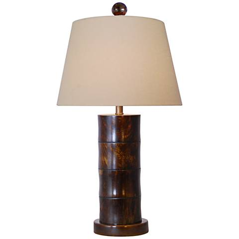 Giant Bamboo Bronze-Brown Cylinder Table Lamp