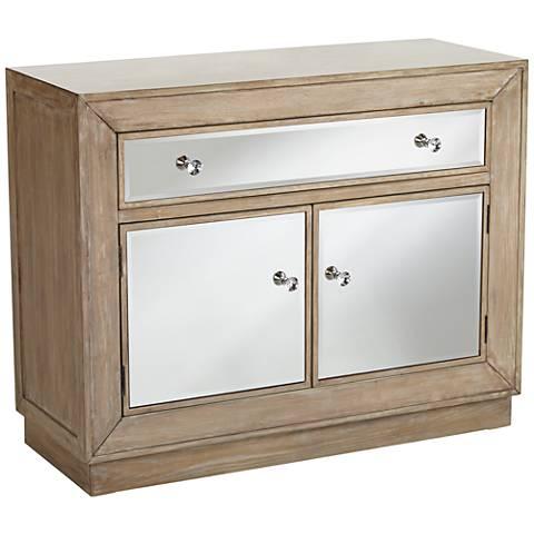 Gabriella Mirrored Oak Veneer 2-Door 1-Drawer Accent Chest