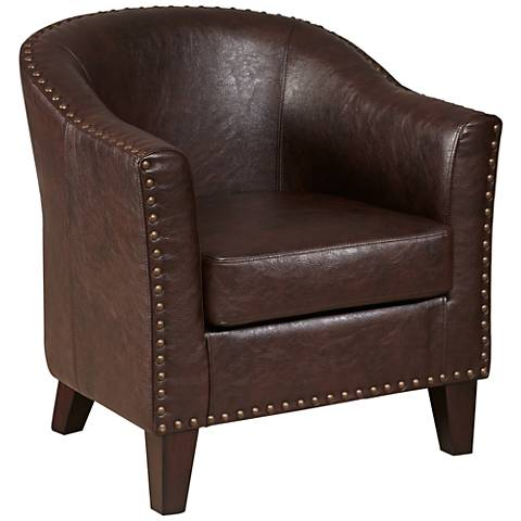 Collins Vintage Brown Faux Leather Accent Chair