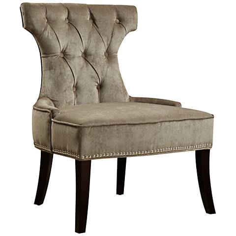 Rumson Elizabeth Platinum Velvet Tufted Dining Chair